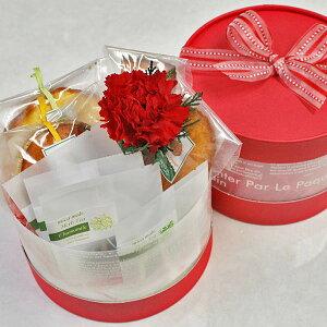 こだわり母の日ギフトカーネーション・ラウンドボックス(フルーツの焼き菓子・プリザーブドフラワー・ハーブティ(ローズ・カモミール・ミント・レモングラス)詰め合わせ)【花とスイー