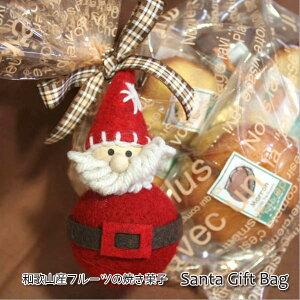 ちょっとレトロなサンタのマスコットと和歌山産フルーツの焼き菓子クリスマスギフトバッグ【楽ギフ_包装】【楽ギフ_メッセ入力】