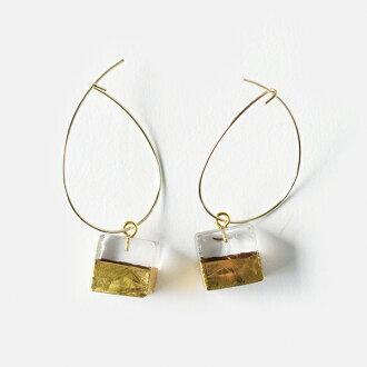 sorte (ソルテ) glass X gold hoop pierced earrings sgj-011sq-ci-tr