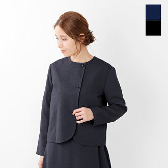 nooy (ヌーイ) boucle jacquard black no-collar jacket fjk04-mt