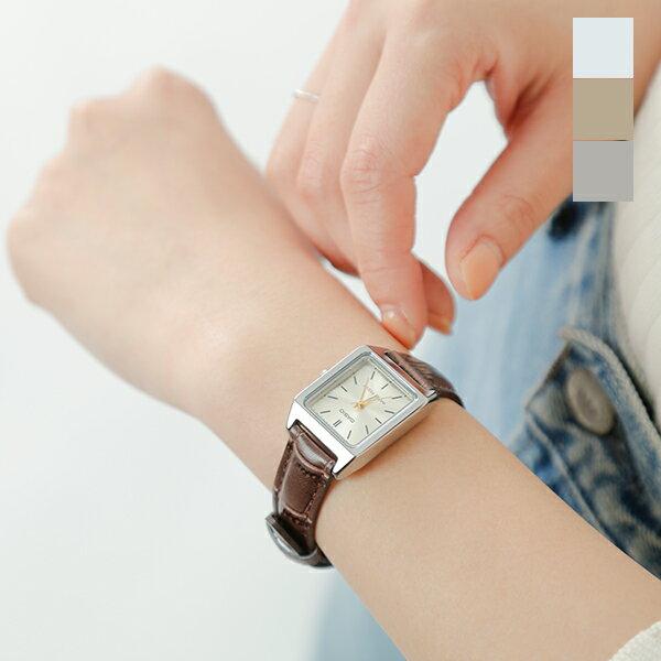CASIO(カシオ)スクエアケースレザーベルト腕時計 ltp-v007l-rf
