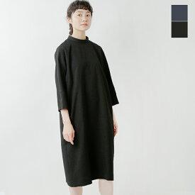 nooy(ヌーイ)ブークレジャガード7分袖ブラックロールカラードレス fop07-sn