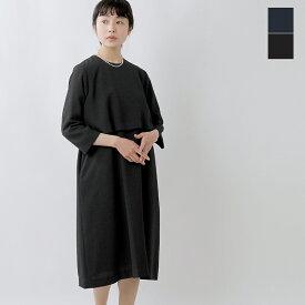 【2019aw新作】nooy(ヌーイ)ブークレジャガード7分袖ブラックケープドレス fop06-ms