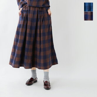 EAST HIGH ROOM (yeast high room) yarn-dyed indigo check cotton tuck gathered flare style skirt 936034-ms