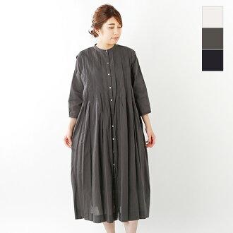 utilite (ユティリテ) 60 cambric Bardo man pin-tuck seven minutes sleeve dress utg1907-03-yn