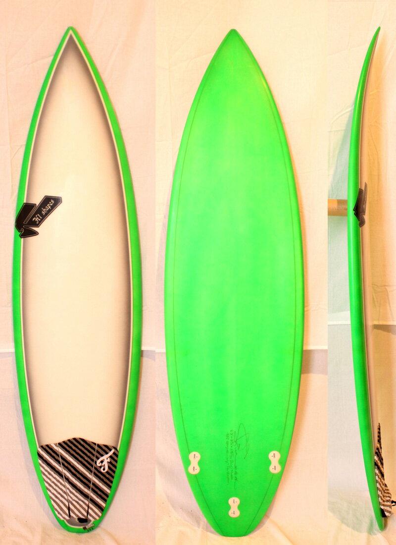 """【中古】SHIN SURFBOARDS(シン) サーフボード[Green×White×Gray] 6'2"""" ショートボード FIN付き"""