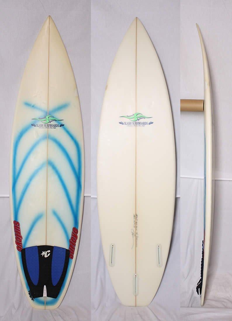 """【中古】SLASH(スラッシュ)SURF BOARDS サーフボード [クリア] 5'11"""" ショートボード FIN ・デッキパッド付"""