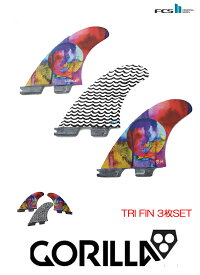 【新品】 GORILLA FIN【EAT SLEEP WAVE REPEAT TRI FIN SET】FCS2プラグ Mサイズ トライ3枚セット