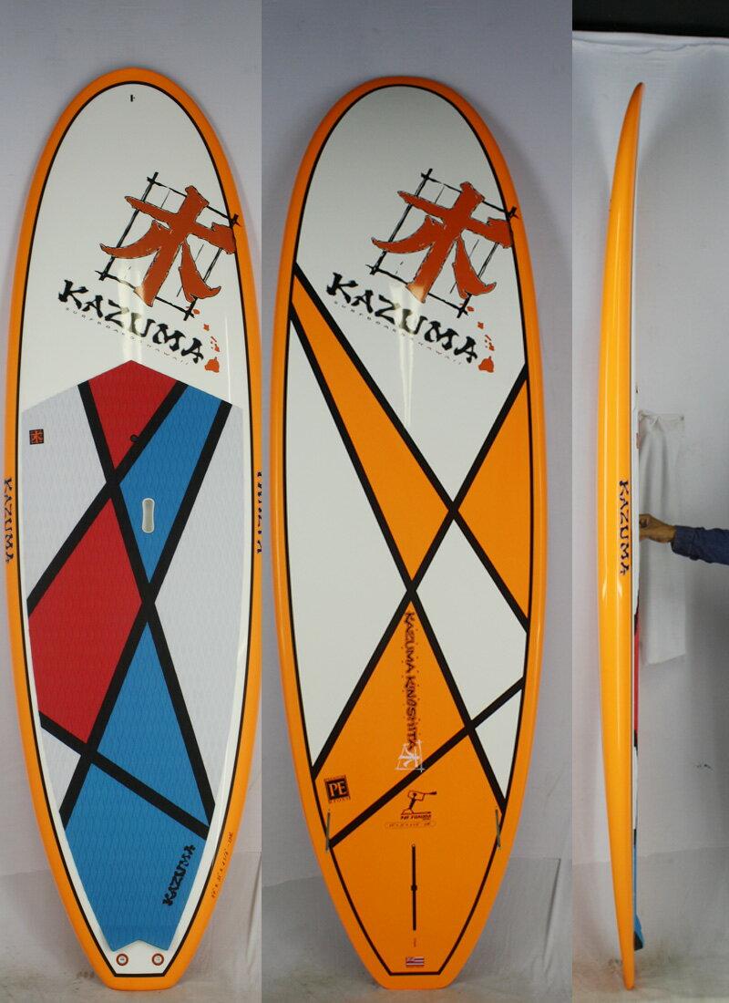 """【新品】KAZUMA Surfboards Hawaii (カズマサーフボードハワイ) FUKUDAモデル サーフボード [brush] 9'0"""" パドルボード Fin付き"""