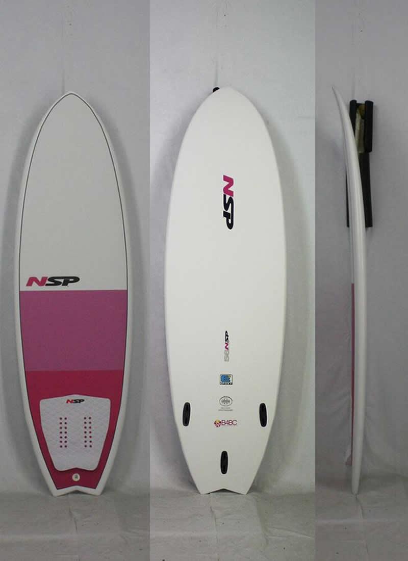 5'6'' 新品 NSP エヌエスピー FISH B4BC フィッシュ ショート [PINK/WHITE] 強度あり壊れにくい! タフに使える! フィン/リーシュ/デッキパッド付 サーフボード