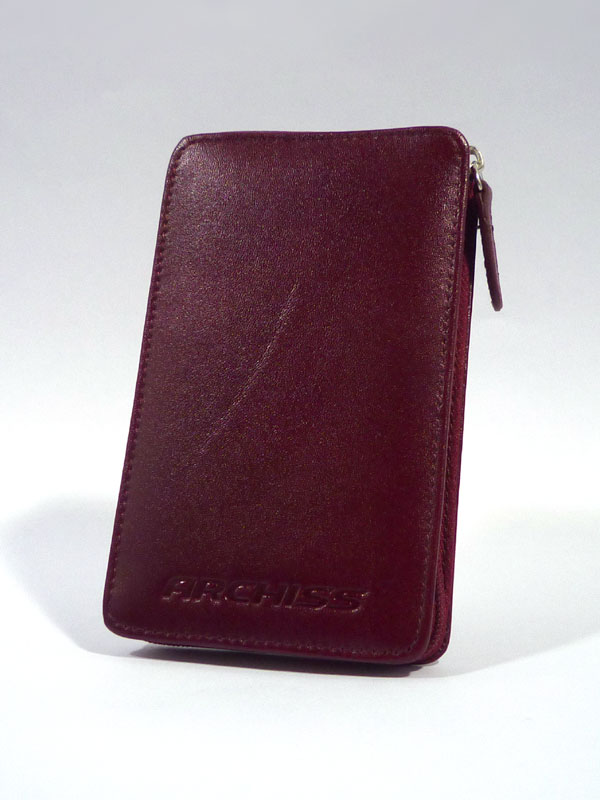 """ARCHISS アーキス オシャレな本革仕様 2.5インチ SATA HDDケース """"I-T Pocket""""ダークレッド AC-L02(R)"""