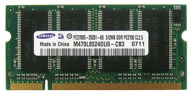 [SAMSUNG ORIGINAL] サムスン純正品 PC2700 DDR333 512MB SODIMM