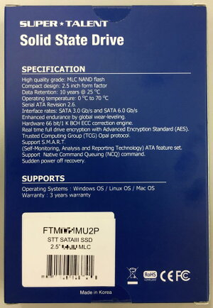 [SuperTalent]MLCNAND採用の耐衝撃・耐震性に優れたSSD!2.5inch64GBSATA6Gbps7mm厚FTM064MU2P