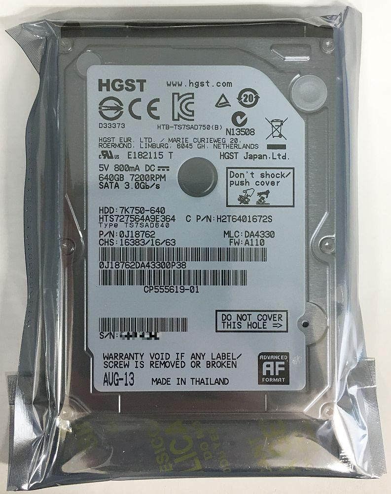 HGST 日立 Travelstar 7K750 2.5inch HDD 640GB SATA 7200回転 9.5mm厚 HTS727564A9E364