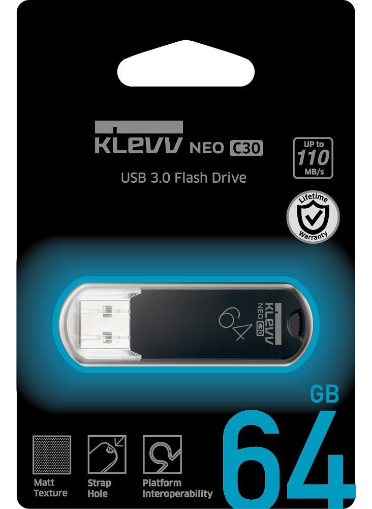 ESSENCORE エッセンコア KLEVV クレブ NEO C30 USBメモリ 64GB U064GUR3-NC USB3.0 キャップ式 R=110MB/s