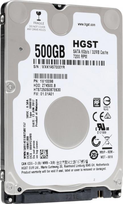 HGST 日立 2.5inch HDD 500GB SATA 6.0Gbps 7mm厚 32MB 7200回転 HTS725050B7E630 1年保証