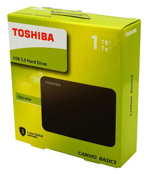 【TOSHIBA】東芝CANVIOBASICSUSB3.0対応2.5インチ1TBポータブル外付ハードディスクHDTB410AK3AA