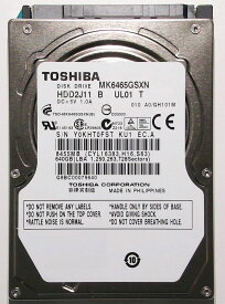 TOSHIBA 東芝 512セクター 非AFT 2.5inch SATA 3Gb/s 640GB HDD 8MB 5400rpm 9.5mm MK6465GSXN