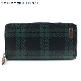 【TOMMY HILFIGER】トミーヒルフィガー 長財布 メンズ ラウンドファスナー ブラック×グリーン チェック 31TL40X001 067 4498-15