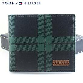 【TOMMY HILFIGER】トミーヒルフィガー 財布 トミー財布 二つ折り財布 メンズ ブラック×グリーン チェック 31TL40X003 067 4503-15 【あす楽対応】