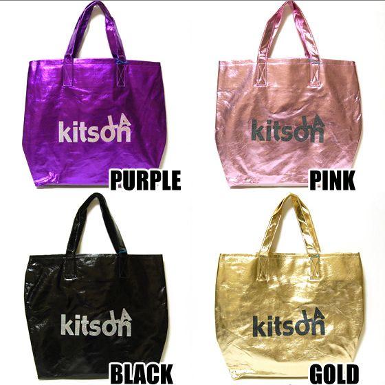 【kitson】キットソン LA Glitter Metallic グリッタートートバッグ パープル/ピンク/ゴールド/ブラック