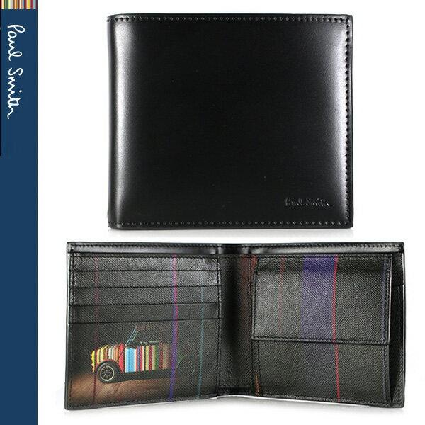 【PaulSmith】ポールスミス メンズ 二つ折り財布 財布 ブラック×ミニクーパー メンズ ASXC 4833 W718P B【あす楽対応】【送料無料】