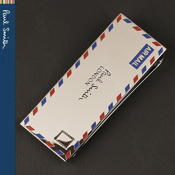 【PaulSmith】ポールスミス マネークリップ シルバー/レター AIR MAIL エアーメール AUXC MONE LETTE 82【送料無料】