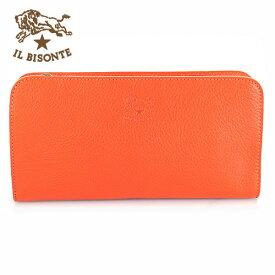 【IL BISONTE】イルビゾンテ 長財布 L字ファスナー レザー メンズ レディース C0909 166 オレンジ ORANGE【あす楽対応】【送料無料】