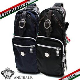 【OROBIANCO】オロビアンコ ANNIBALE-G アンニバーレ ボディバッグ 斜めがけ メンズ ショルダーバッグ NYLON ブラック/ブルー【あす楽対応】