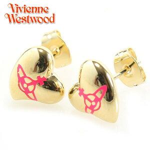 【Vivienne Westwood】ヴィヴィアンウエストウッド ピアス ニュー ハート スタッド イヤリング イエローゴールド×ネオンレッド 2804【あす楽対応】【送料無料】