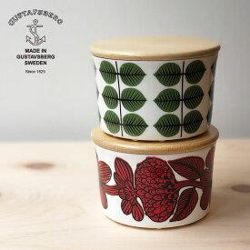 Gustavsberg (グスタフスベリ) 北欧キャニスター 保存容器 陶器のジャー ベルサ bersa レッドアスター Red aster 蓋木製 おしゃれな北欧食器 スティングリンドベリのデザイン スウェーデン食器 北欧テキスタイルのキッチン雑貨 ボーンチャイナ プレゼントやギフトにも人気