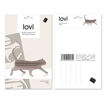 【10倍】Lovi(ロヴィ)キャット猫12cm(ブラック、グレー、ナチュラル、イエロー4色)/北欧オーナメントカードねこ白樺【メール便OKプレゼント】