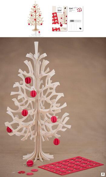 Lovi(ロヴィ)クリスマスツリー30cmミニボール付北欧雑貨オーナメントカードおしゃれな北欧プライウッド白樺フィンランドインテリア置物プレゼントギフトに人気Lovi日本総代理店mominokiもみの木バーチツリー