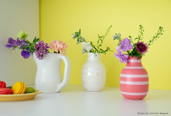 Kahler(ケーラー)花瓶フラワーベース(S)オマジオパールOMAGGIOデンマーク陶器ホワイトプレゼントおしゃれな北欧雑貨花びんインテリアボーダーデンマークの陶磁器北欧のお部屋インテリア雑貨ハーマンケーラー