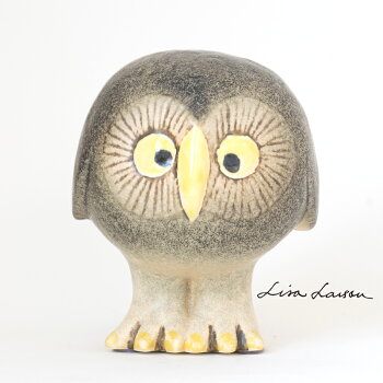 【送料無料】LISALARSON(リサ・ラーソン)GrayOwlグレーのふくろう梟陶器置物動物かわいいインテリア北欧雑貨大人気