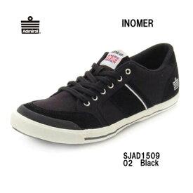 Admiral SJAD1509 02 イノマー ブラック Black レディース メンズ ユニセックス アドミラル INOMER 靴 スニーカー モノトーン ローカットシューズ