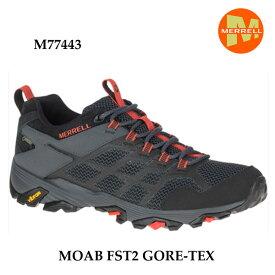 Merrell M77443 MOAB FST2 GORE-TEX BLACK/GRANITE メレル モアブ エフエスティ2 ゴアテックス ブラック/グラナイト メンズ アウトドア スニーカー 幅2E相当