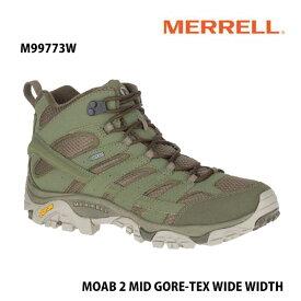 Merrell M99773W MOAB 2 MID GORE-TEX WIDE WIDTH OLIVE メレル モアブ 2 ミッド ゴアテックス ワイド ワイズ オリーブ メンズ アウトドア スニーカー 防水 幅広 幅3E相当