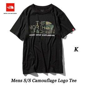 The North Face ネコポス便対応 Mens S/S Camouflage Logo Tee BLACK ロゴTシャツ ザ ノースフェイス ショートスリーブカモフラージュロゴティー(メンズ) NT31932 (K)ブラック