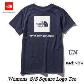 The North Face ネコポス便対応 S/S Square Logo Tee ザ ノースフェイス ショートスリーブスクエアロゴティー(レディース) NTW31957 (UN)アーバンネイビー