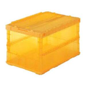 トラスコ 薄型折りたたみコンテナ スケルコン(スライドロックフタ付)外寸530×366×336mm 透明オレンジ TSK-C50B-OR