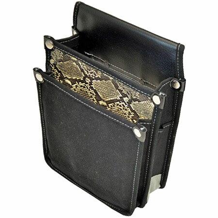 マルキン印 内ポケット付帆布腰袋 YK-10 黒 白蛇柄 ※取寄品 183020043