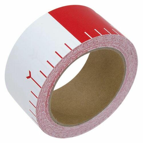 シンワ 貼付ロッド 合成紙製 50mm×25m 赤白20cm間隔 ※取寄品 78192