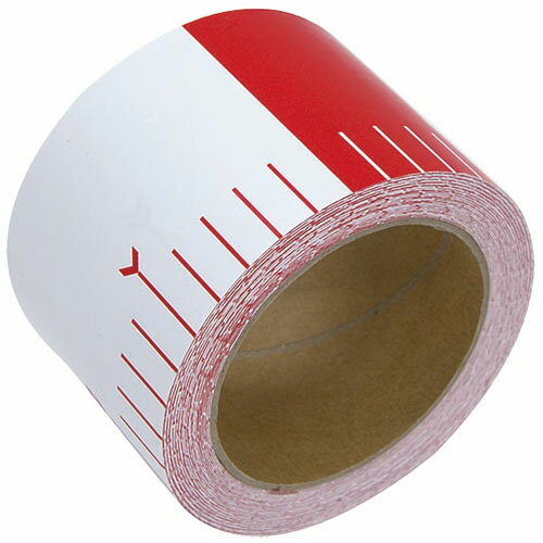 シンワ 貼付ロッド 合成紙製 75mm×25m 赤白20cm間隔 ※取寄品 78194