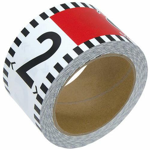 シンワ 貼付ロッド 合成紙製 60mm×26m 赤白20cm間隔 目盛数字付 ※取寄品 78196