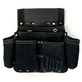 【送料無料】ヌバック釘袋 Wポケット(W墨壷ホルダー仕様) 6型 黒 アルデ ARDEX-016W-K ( 腰袋 大工 釘袋 収納 DIY 日曜大工 革 皮 小物入れ )