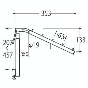 Vフェイスアウトスロープ アジャストタイプ 19径 フック5個 Aニッケルサテン 受注生産 ロイヤル V-FSAK-19-5 ( 棚 角パイプ 水平 ダブル 傾斜連掛け 陳列棚 商品棚 パイプハンガー フェイスアウト