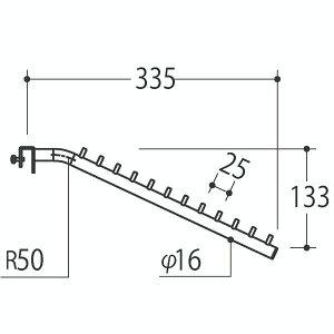 Vフェイスアウトスロープ 16径 フック12個 Aニッケルサテン 受注生産 ロイヤル V-FSK-16-12 ( 棚 角パイプ 水平 ダブル 傾斜連掛け 陳列棚 商品棚 パイプハンガー フェイスアウトハンガー 引っ掛