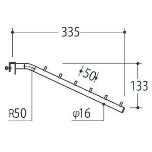 Vフェイスアウトスロープ 16径 フック6個 Aニッケルサテン 受注生産 ロイヤル V-FSK-16-6 ( 棚 角パイプ 水平 ダブル 傾斜連掛け 陳列棚 商品棚 パイプハンガー フェイスアウトハンガー 引っ掛け