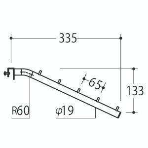 Vフェイスアウトスロープ 19径 フック5個 Aニッケルサテン 受注生産 ロイヤル V-FSK-19-5 ( 棚 角パイプ 水平 ダブル 傾斜連掛け 陳列棚 商品棚 パイプハンガー フェイスアウトハンガー 引っ掛け